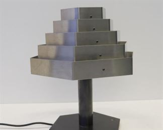 MIDCENTURY Patinated Metal Lamp With Alluminium