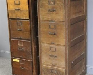 Pair Of Antique Oak File Cabinets With Raised