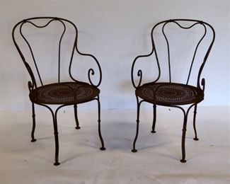 Pair of French th Century Polished Steel Garden