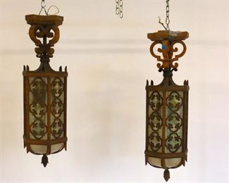 Pair Of Large Art Deco Iron And Glass Lanterns