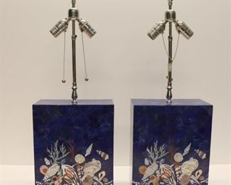 Pair Of Midcentury Style Lapis Lamps