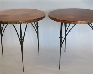 Pair Of Modern Copper Top And Iron Base Tables