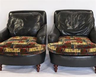 Pair Of Quality Leather Upholstered Lounge Chairs