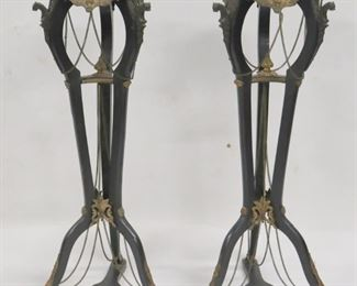 Pair Of Victorian Ebonised And Gilt Metal