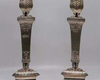 SILVER Antique Pr German Silver Candlesticks