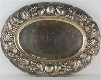 SILVER Continental Silver Tray with Fruit Border