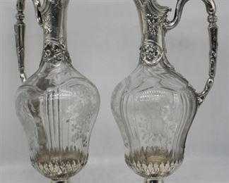 SILVER Pair of Signed French Silver Mounted