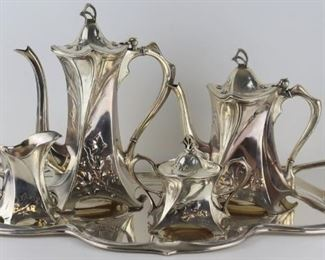 SILVERPLATE Art Nouveau Pc Tea Service Tray