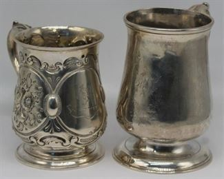 SILVER Two Antique English Silver Canns
