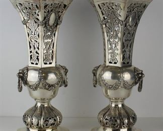 STERLING Pair of Signed German Silver Vases