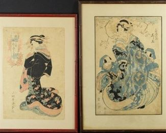 Two Japanese Woodblock Prints incl Eizan