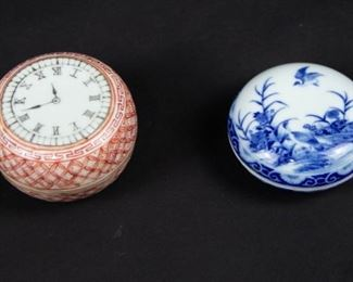 Two Porcelain Seal Paste Boxes