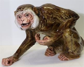 UNSIGNED Large Glazed Terracotta Monkey