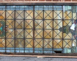 Very Large Leaded Glass Tiffany Style Window