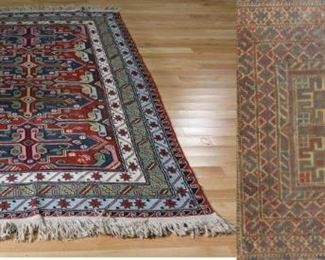 Vintage and Finely Hand Woven Area Carpet Together