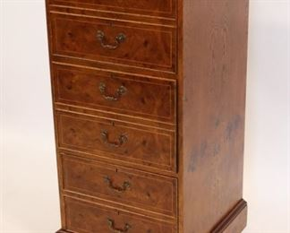 Vintage And Quality Inlaid Burl File Cabinet