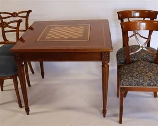 Vintage And Quality Inlaid Game Table And Chairs