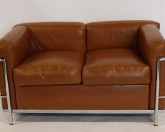 Vintage Corbusier Leather Upholstered Settee