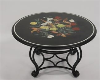 Vintage Iron Table With Piet Et Dura Marble Top