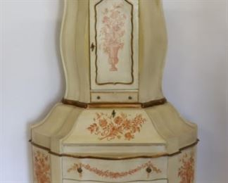 Vintage Paint Decorated Italian Secretary Bookcase