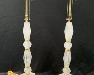 Vintage Pair Of Gilt Wood And Rock Crystal