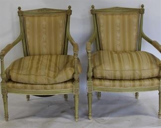 Vintage Pair Of Painted Louis XVI Style Arm Chairs