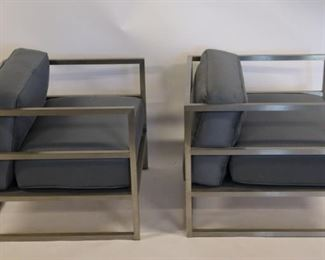 Vintage Pair Of Polished Steel Upholstered Chairs