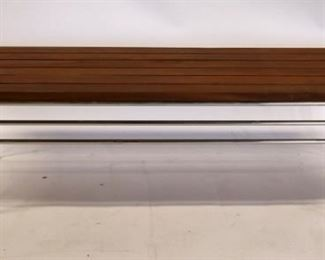 Vintage Signed Chrome Walnut Slatted Bench