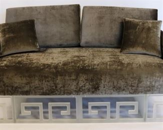 Vintage Settee With Acrylic Base Crushed Velvet
