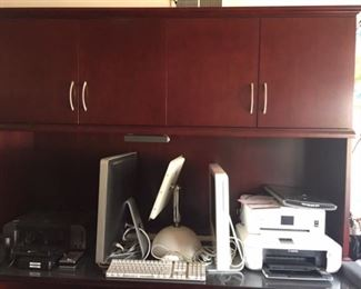 Mac computers, printers and executive desk and table