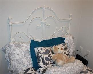 Twin bed, metal headboard, white