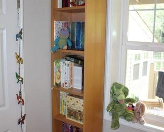 Bookshelves, children's books, plush animals