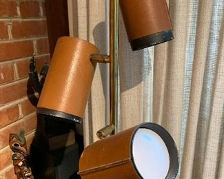 Great mid century modern lamp with leather can lamps