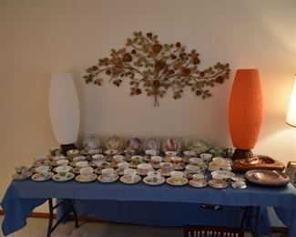 TEACUP COLLECTION, VINTAGE LAMPS, WALL DECOR