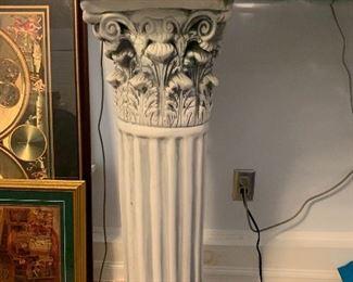 Corinthian column two pedestal glass top sofa table
