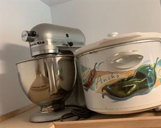 Steel KitchenAid artisan mixer -this is the higher end model, Crock Pot
