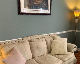 Linen sofa, Noah's Ark print