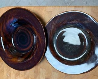 Set of brown glazed ironstone dishes