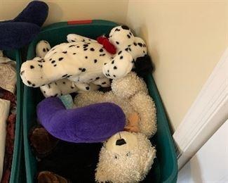 Bin of stuffed animals