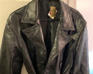 Brand new long ladies leather coat