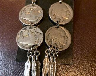 Earrings made from Buffalo nickels