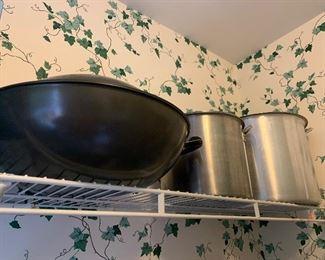 Huge wok and stock pots