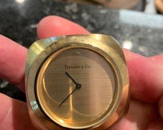 "Tiffany ""dice"" clock in brass"