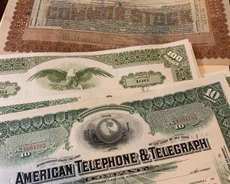 Vintage stock certificates 1920s to 1970s