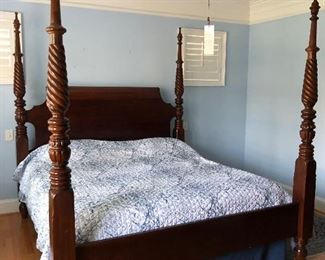 "This beautiful Solid wood king size bed-with mattress set less than four years old 90""tall posts -by Hickory- White  Great condition"