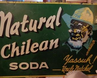 """Double Sided """"Natural Chilean Soda"""" Metal Sign,"""