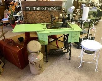 Vintage Sewing Machine and Ice Cream Soda Chair