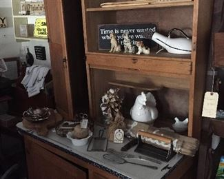 Antique Hoosier Cabinet(enamelware). Display piece that was used in my store.