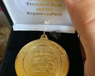 Republican gold medal awarded by President Bush