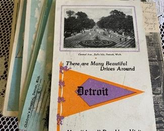 Place postcards: Michigan: Detroit; Ohio: Columbus and Cleveland; Pennsylvania: Meadville; New York, other